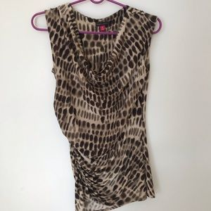 Vince Camuto leopard print wrapped top V neck
